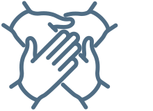Icon of stacked hands to suggest Celgene Patient Support® and information.